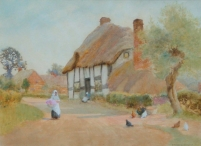 Woman near a Cottage
