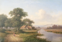 River Valley with Angler & Cottages