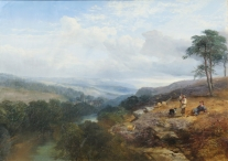 Shepherds Resting Above a River Valley