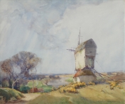 Windmill Overlooking a River Landscape