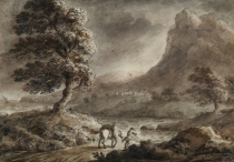 Horseman in a Windy Landscape