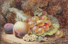 Still life of a Peach, Plum and Gooseberries