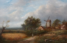Figures on a Rural Track, Windmill Beyond
