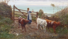 Girl with Calves Overlooking the Sea