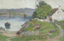 Woman before a Cottage by an Estuary