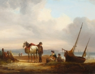 Figures, Boats & Pony on a Beach