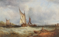Fishing Boats in a Swell off the Coast
