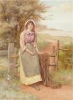 Girl Seated on a Stile
