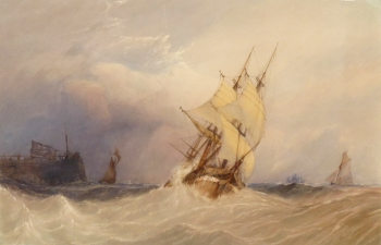 Boats Leaving Harbour in a Rough Sea, John Callow