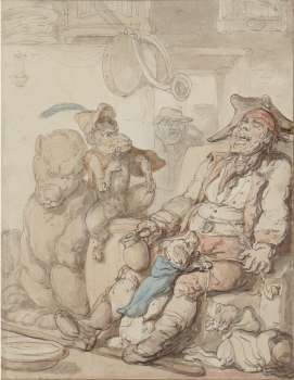 Sleeping Man with Bear, Monkey & Dogs, Thomas Rowlandson