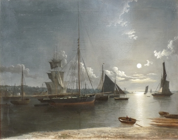 Shipping in an Estuary by Moonlight, Henry Pether