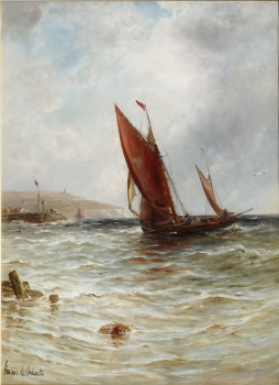 Fishing Boat Entering a Harbour, Gustave de Breanski