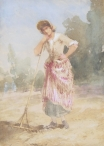 Woman Leaning on a Rake