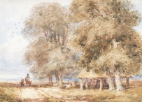 Travellers Passing Trees and a Barn