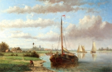 Boats in a Dutch River Landscape 1