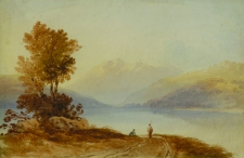 Figures on a Path by a Mountain Lake