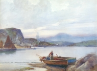 Couple Preparing a Fishing Boat