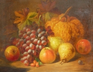 Still Life, Grapes, Apples, Pears & Pumpkin
