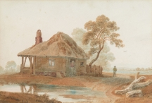Figures by a Thatched Cottage
