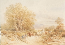 Droving Cattle in a Country Lane