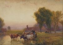 Drovers Watering Cattle