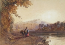 Woman & Donkey on Riverside Path