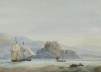 A Brigantine & other Vessels off Dunnotar Castle Aberdeen, Scotland
