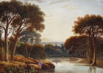 Figure Standing by a lake, with a Mansion Beyond