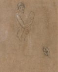 Study of a Boy holding a scroll, & study of a hand