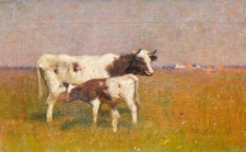Cow and Calf in a Sunlit Meadow