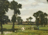 Woman with Cattle in Summer Landscape
