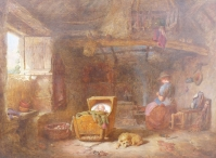 A Welsh Interior: Mother with Baby in a Cot