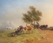 Pastoral Scene with Milkmaid & Cattle