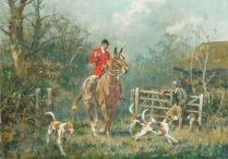 Huntsman with Hounds Passing through a Gateway