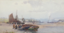 Fisherfolk & Boats on an Estuary