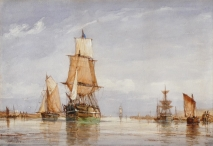Estuary View with Sailing Vessels