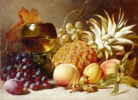 Still Life: Grapes, Peaches, Plums & Pineapple with Goblet