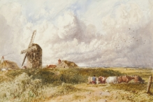 Herding Cattle near a Windmill