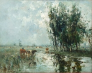 Cattle Watering from a River