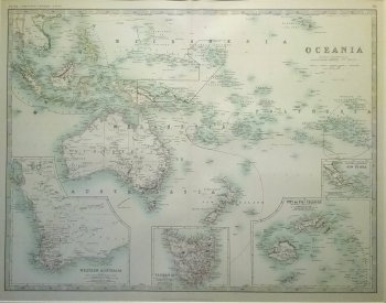 Oceania with insets of Western Australia, Tasmania, Fiji Islands & New Guinea