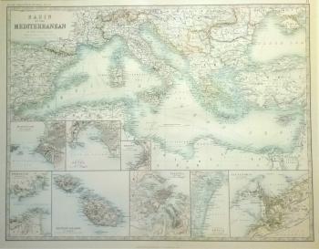 Basin of the Mediteranean, inserts of ports: Marsaille, Genoa Trieste, Gibraltar, Valetta, Venice & Alexandris.