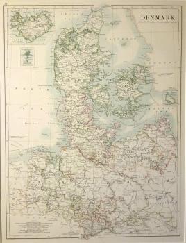 Denmark with inset of Iceland & Copenhagen