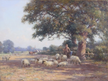 Shepherd & Flock beneath a Tree, William Kay Blacklock