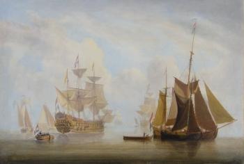 Oil Painting Abraham Hulk A Calm Dutch Men O War