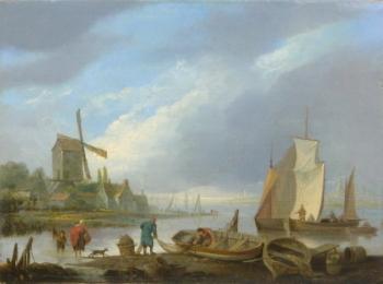 Fishermen Preparing Boats, Samuel Owen