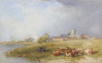 Cattle near an Estuary Village, Thomas Francis Wainwright