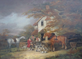 The Return from Hunting; with Portrait of Dray Horse, Property of H. Meux, Dean Wolstenholme snr