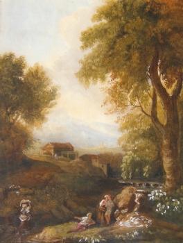 Figures in an Italianate Landscape, Italian School