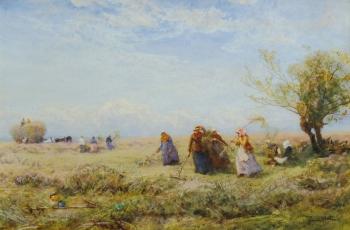 Harvesters near Amberley, Robert Thorne Waite