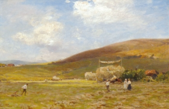 Haymaking near Amberley, James Aumonier
